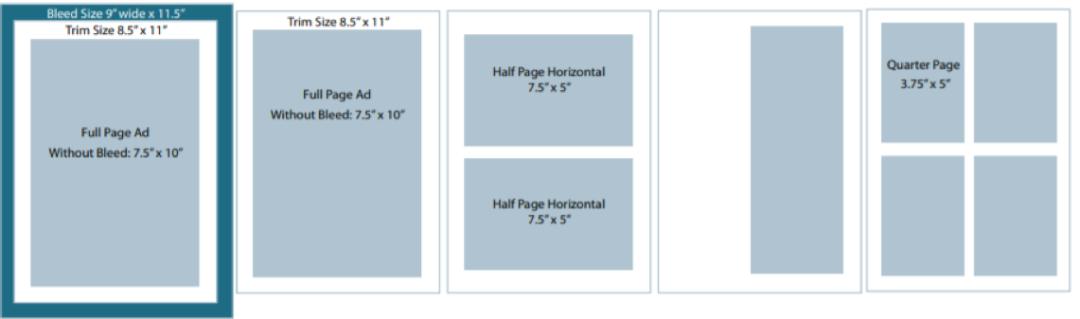 virtual book ad sizes